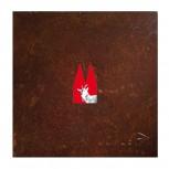 Bock rot-weiß, wahlweise mit Geschenkbox 13x13cm. SET-Preis inkl. Motiv-Einsatz.